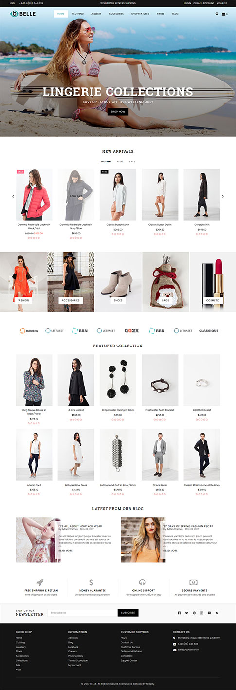 5 Best Shopify Themes for a Fashion Store - Belle Clothing and Fashion Shopify Theme demo