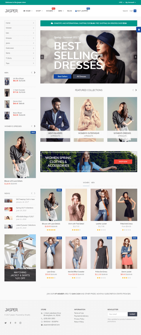 5 Best Shopify Themes for a Fashion Store -Jasper Theme shopify fashion theme demo