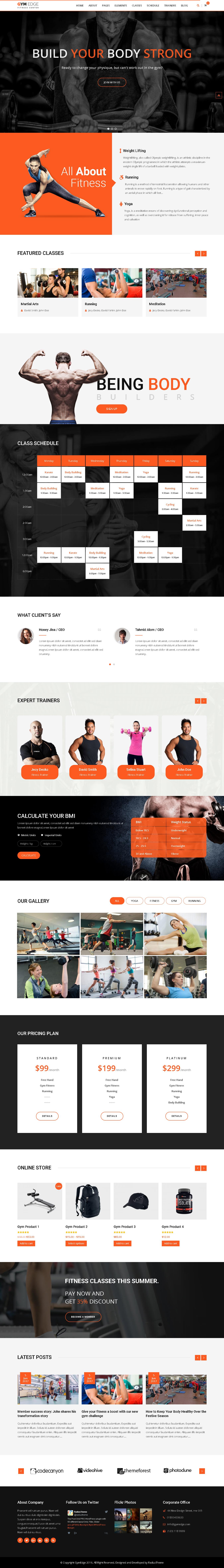 Best Gym Fitness WordPress Themes - Gym Edge WordPress Theme