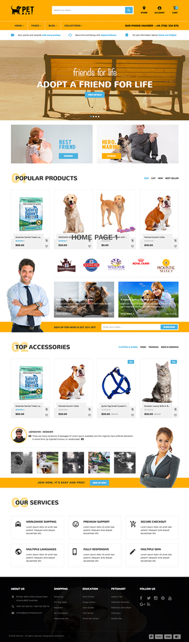 Best SHOPIFY THEME FOR PET SUPPLIES - Pet Care - Pet Service - Petmart Responsive Shopify Theme