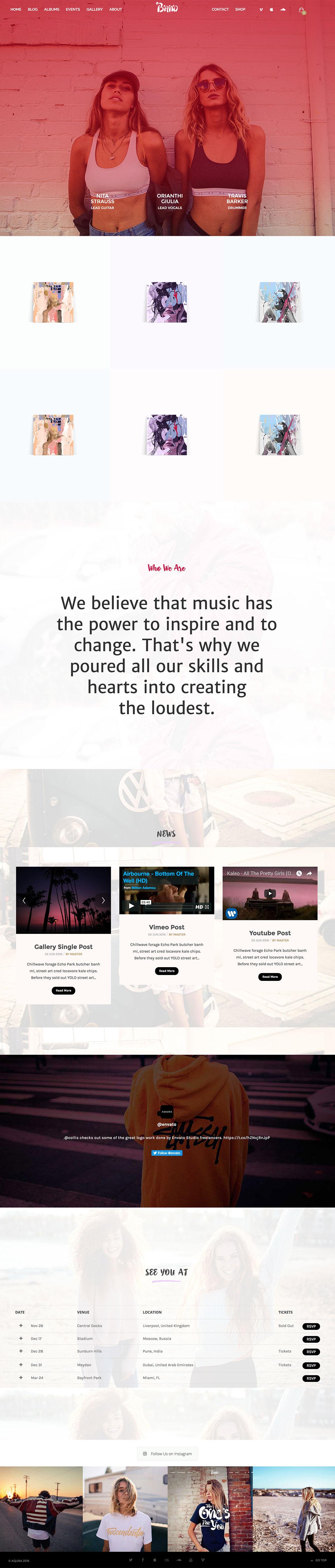 Best WordPress themes for Musicians - AQURA - Music Bands Musicians & DJ's WordPress Theme
