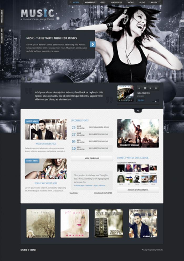 Best WordPress themes for Musicians - Music Musicians theme & Facebook app