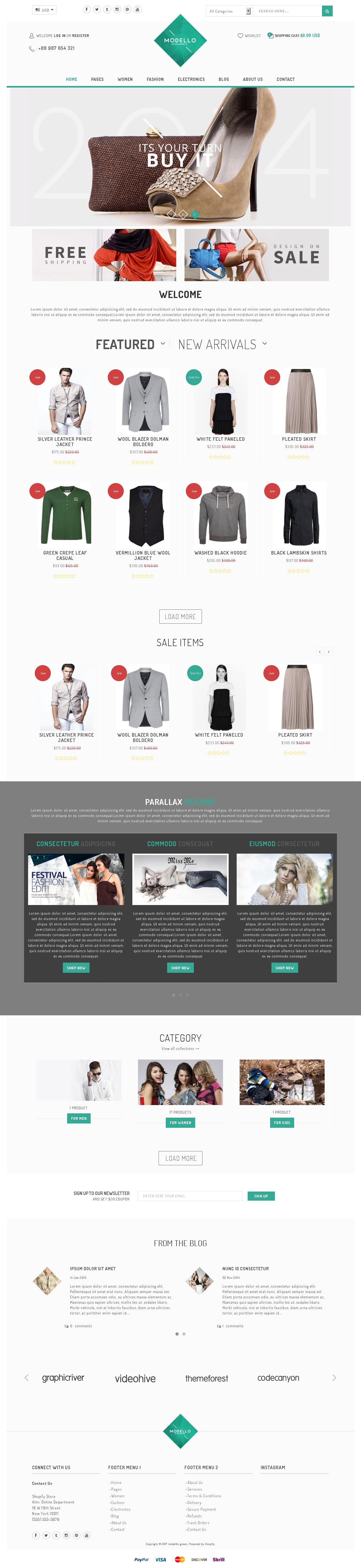 Shopify Theme for Art Work top - Modello - Responsive Shopify Theme