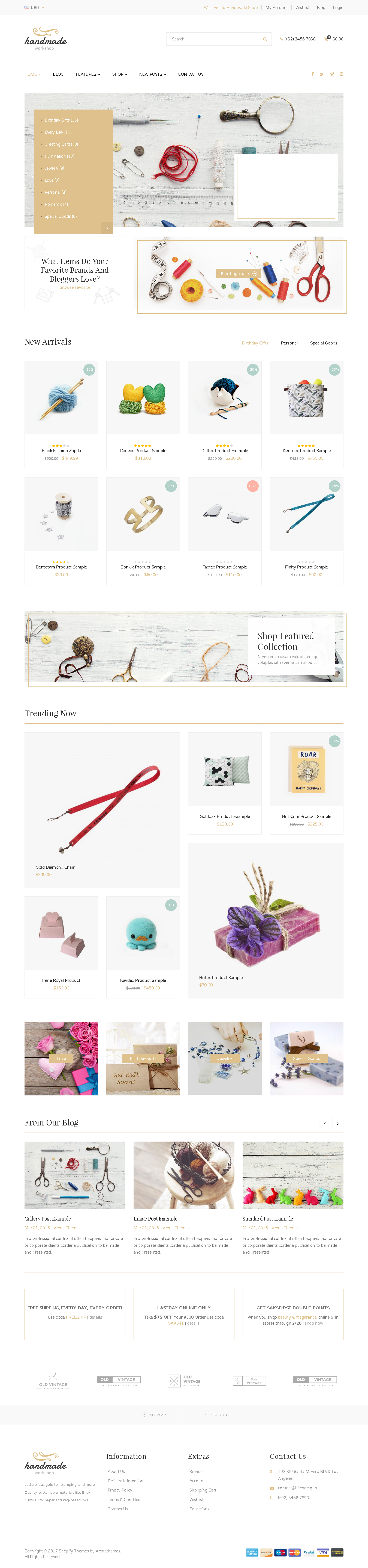 Shopify Themes For Jewelry Store - Handmade Responsive Shopify Theme - Craft Jewelry Artwork Vintage and Creative Goods
