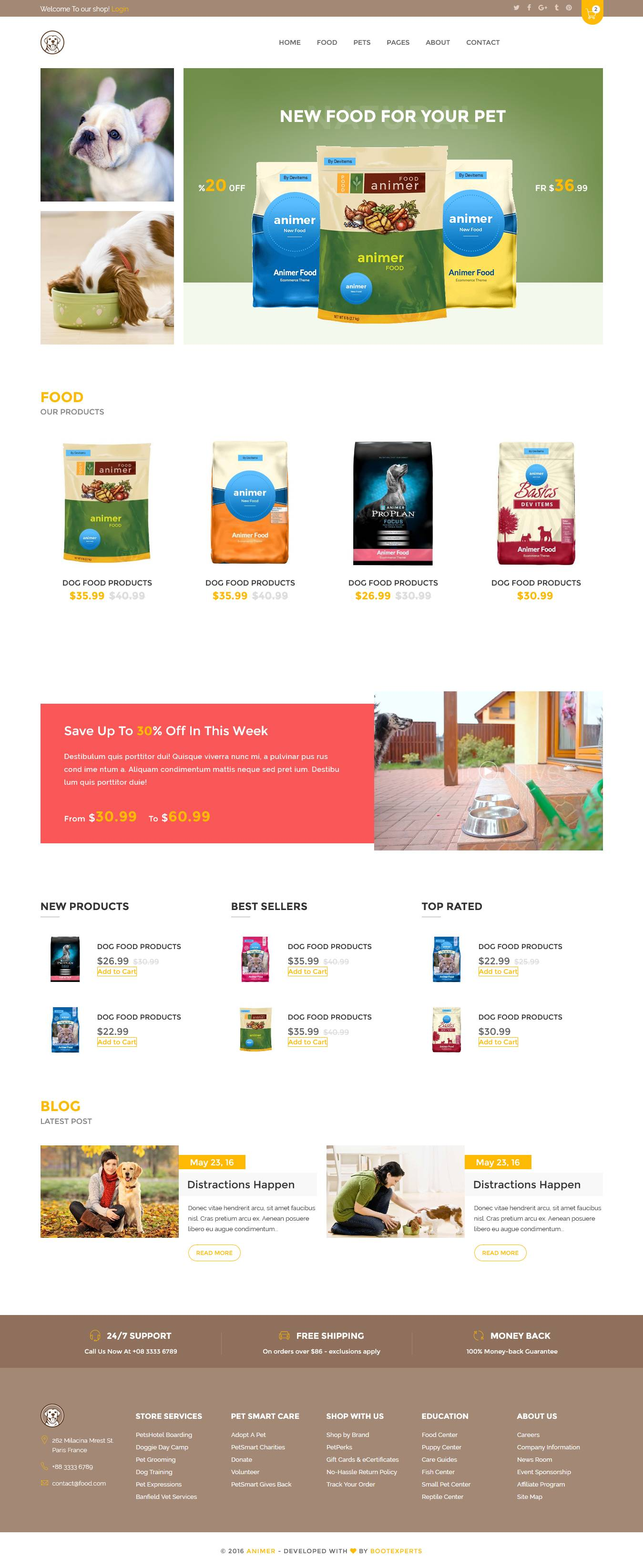 TOP SHOPIFY THEME FOR PET SUPPLIES - Pet Care - Pet Service - Animer - Pet Care Shopify Theme