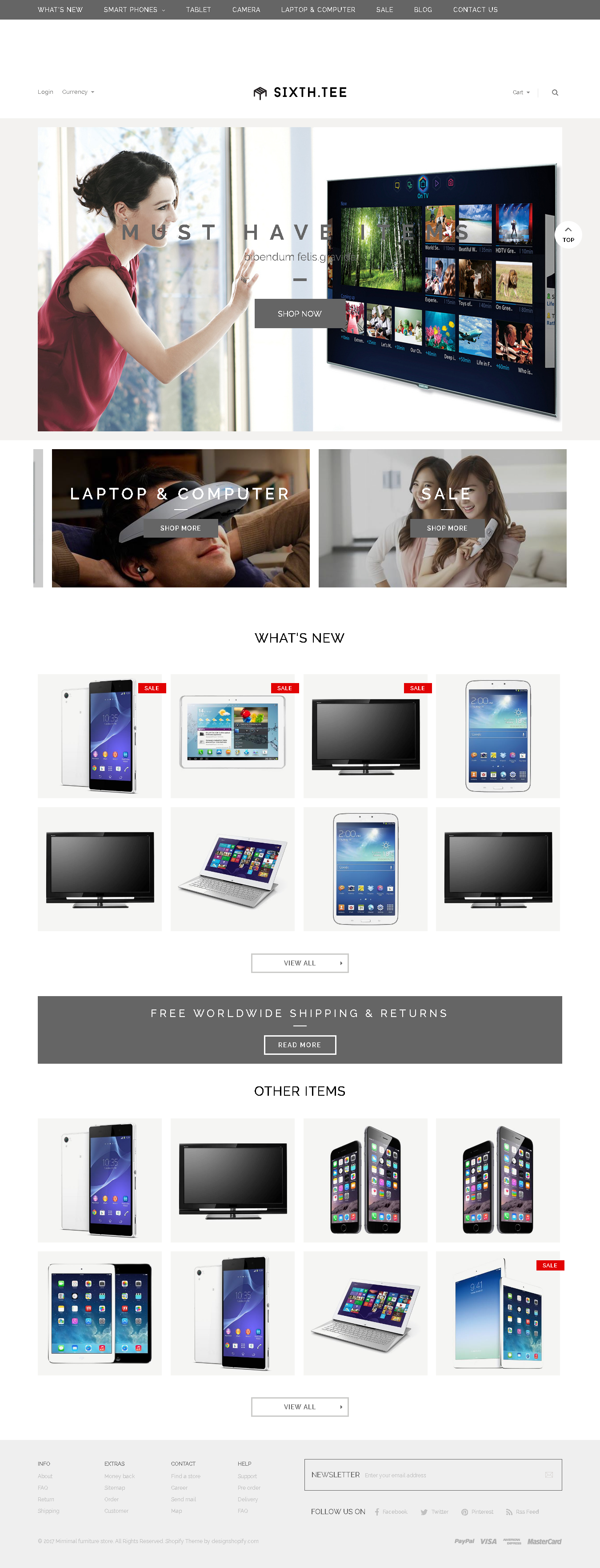 TOP and best SHOPIFY ELECTRONICS THEME - Minimal Multipurpose Shopify Theme - SixthTee