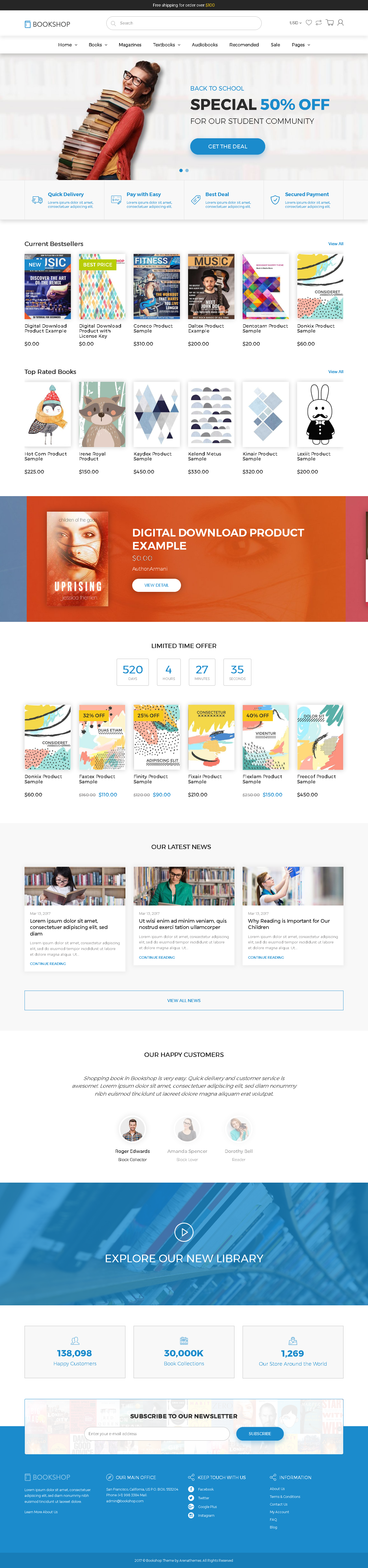 Top Shopify Premium themes collection for Book Store - Shopify Ebook Theme - Bookshop Digital Download Product Shopify Template