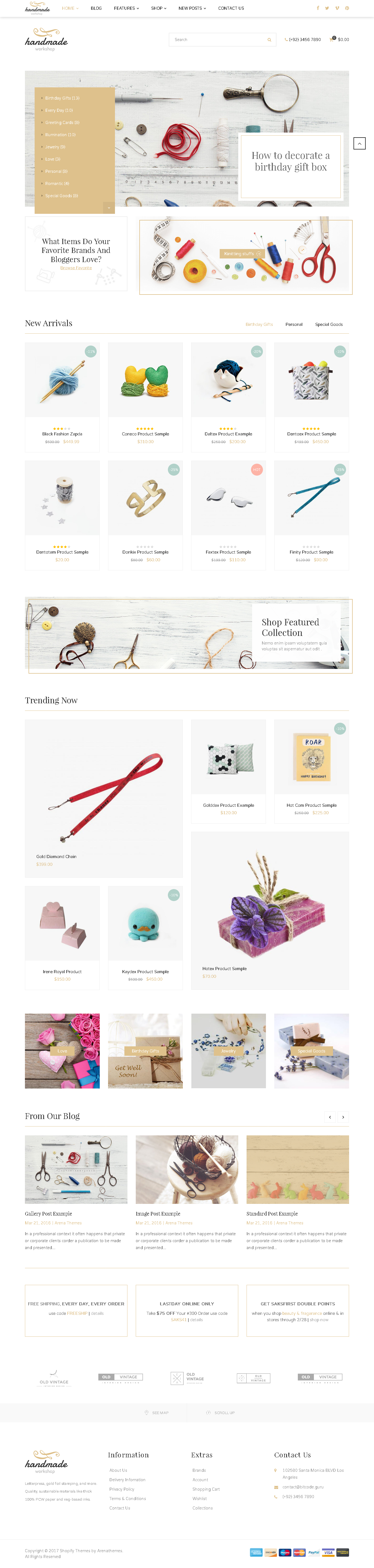 Top Shopify Theme for Art Work - Handmade Responsive Shopify Theme - Craft, Jewelry, ArtWork, Vintage and Creative Goods store theme