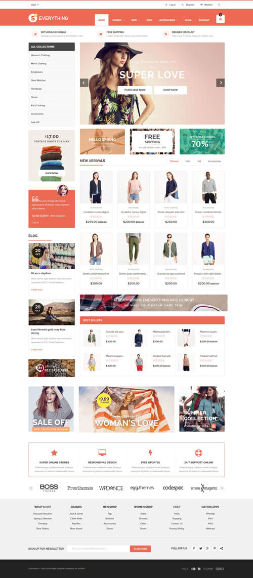 5 Best SHOPIFY Premium Themes Collection for Clothing Store 2017 - Everything - Multipurpose Premium Responsive Shopify Themes - Fashion, Electronics, Cosmetics, Gifts