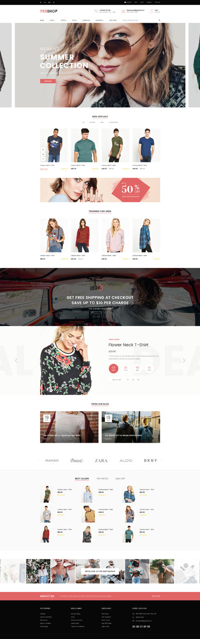 5 Best SHOPIFY Premium Themes Collection for Clothing Store 2017 - YESSHOP- Responsive Multi-Purpose Shopify Theme - Fashion, Clothing, Minimal, Glasses, Baby