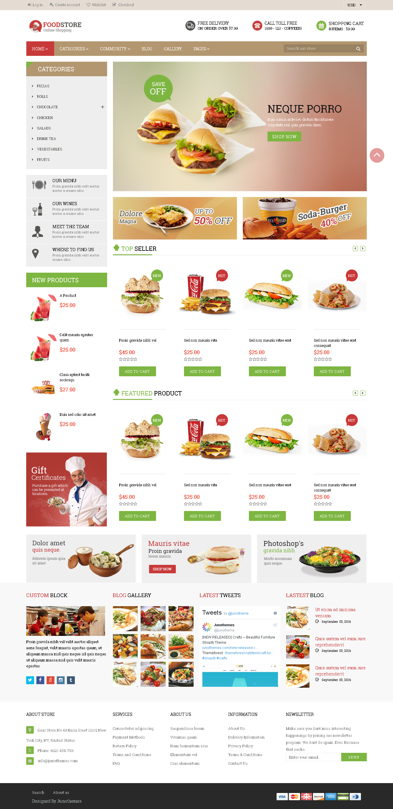 5 Best SHOPIFY Premium Themes Collection for Food Store 2017 - Foodstore Responsive Shopify Theme