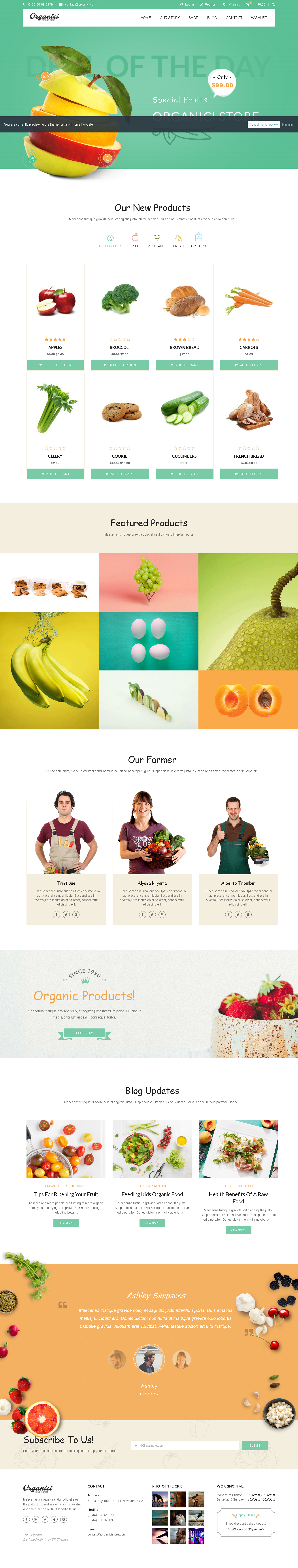 5 Best SHOPIFY Premium Themes Collection for Food Store 2017 - Organici - Creative Multi-Purpose Shopify Theme