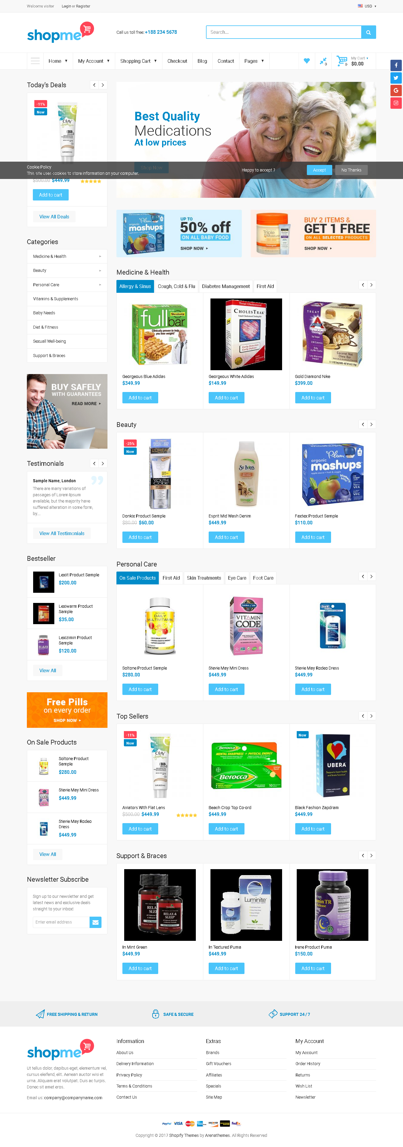 5 Best SHOPIFY Premium Themes Collection for HEALTHCARE Store 2017 - Medical Shopify Theme - Shopme