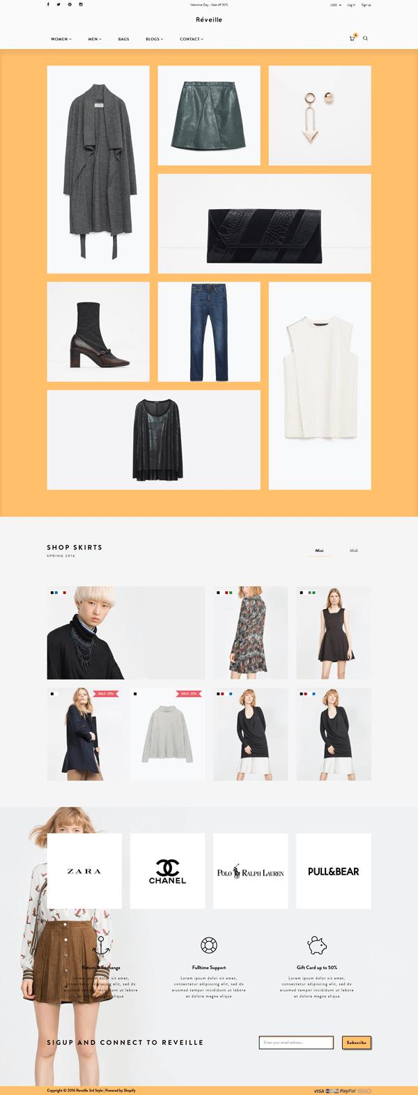 5 Best SHOPIFY Premium Themes Collection for Handbags Store 2017 - Réveille - Premium Responsive Shopify Theme