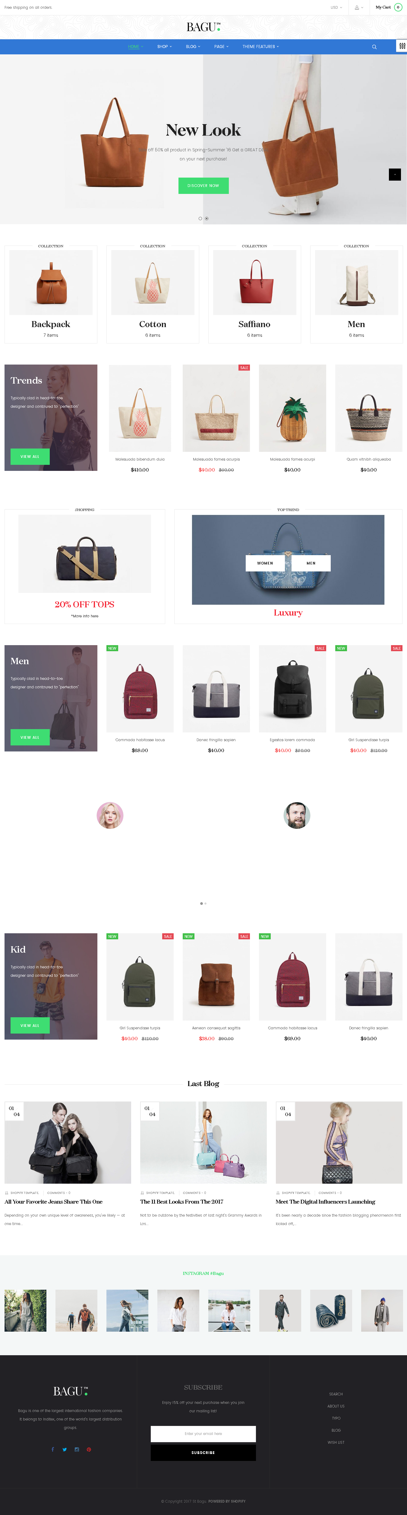5 Best SHOPIFY Premium Themes Collection for Handbags Store 2017 - ST Bagu Shopify Theme