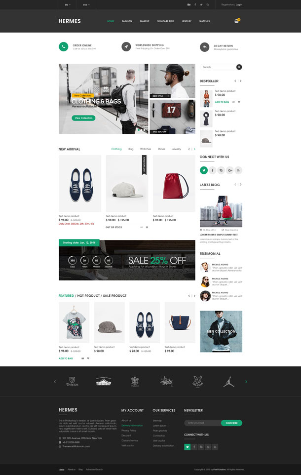 5 Best SHOPIFY Premium Themes Collection for RETAIL Store 2017 - Hermes - Multi Store Responsive Shopify Theme