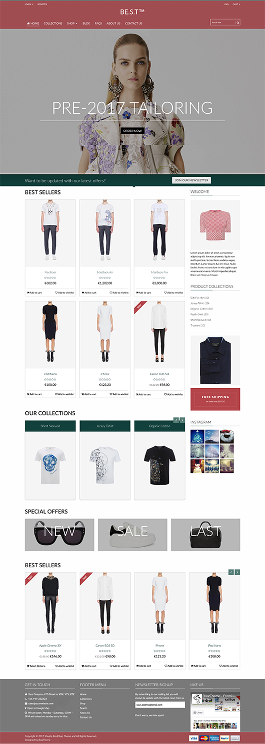 5 Best SHOPIFY Premium Themes Collection for RETAIL Store 2017 -Quickshop - Responsive Drag&Drop Shopify Theme