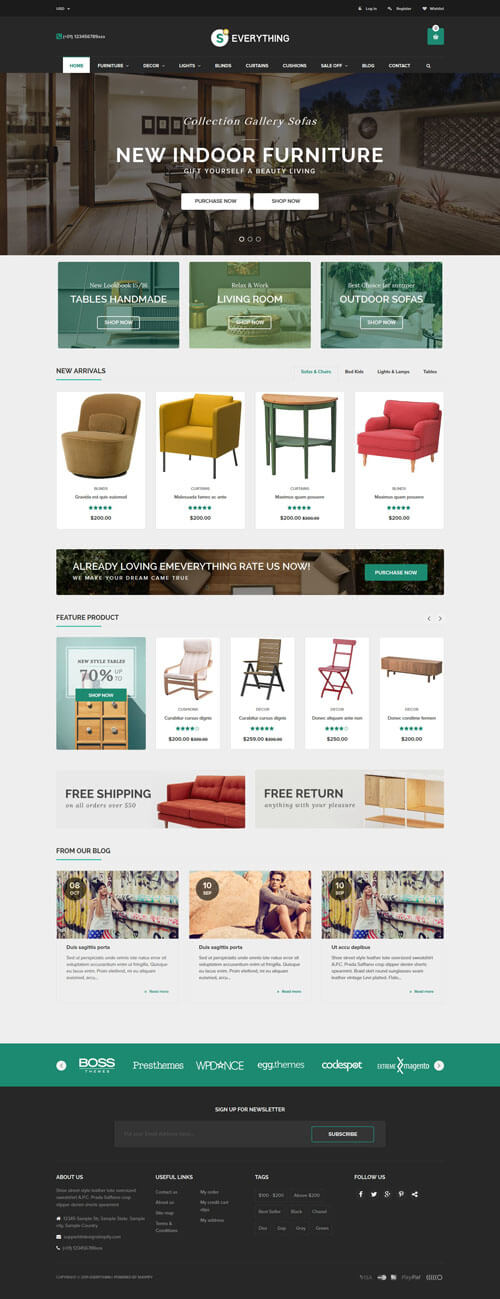 5 Best SHOPIFY Premium themes collection for Furniture Store 2017 - Everything - Multipurpose Premium Responsive Shopify Themes - Fashion, Electronics, Cosmetics, Gifts