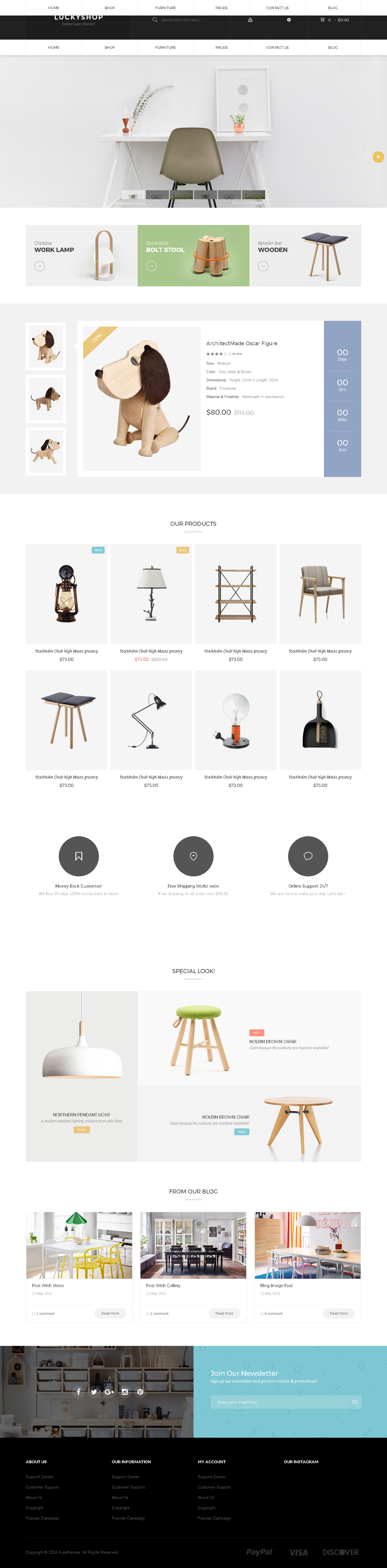 5 Best SHOPIFY Premium themes collection for Furniture Store 2017 - Lucky - Multipurpose Responsive Shopify Theme