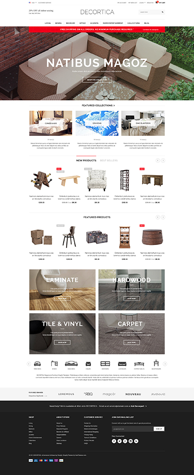5 Best SHOPIFY Premium themes collection for Furniture Store - DECORTICA - Responsive Shopify Template