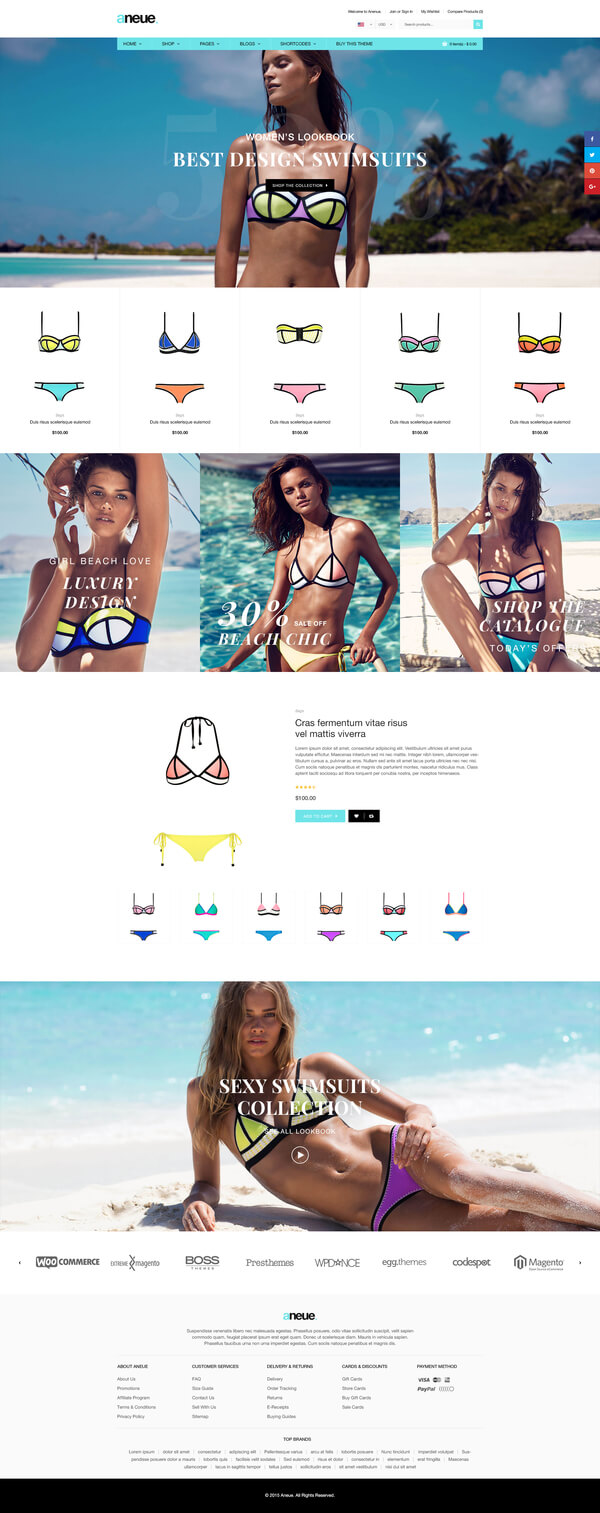 Best SHOPIFY Premium Themes Collection for Lingerie Store 2017 - Aneue - Creative Multi-stores Shopify Theme