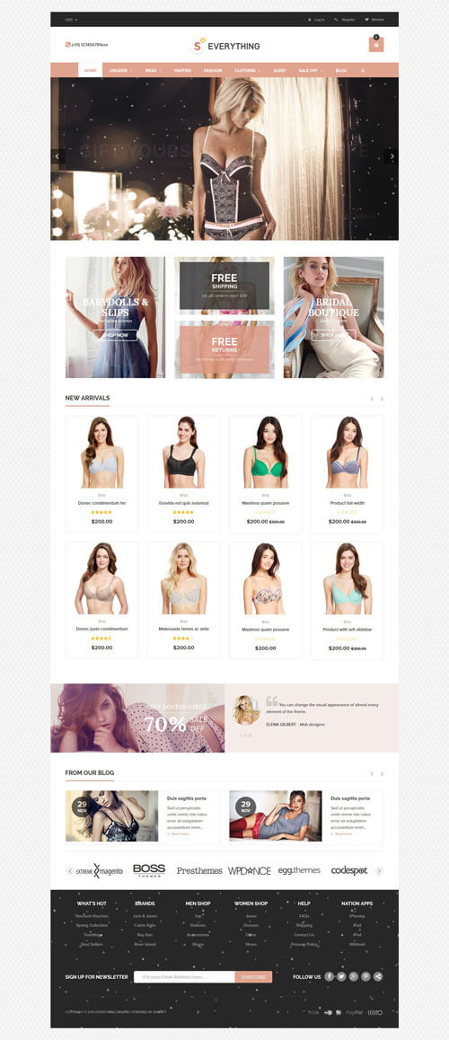 Best SHOPIFY Premium Themes Collection for Lingerie Store 2017 - Everything - Multipurpose Premium Responsive Shopify Themes - Fashion, Electronics, Cosmetics, Gifts