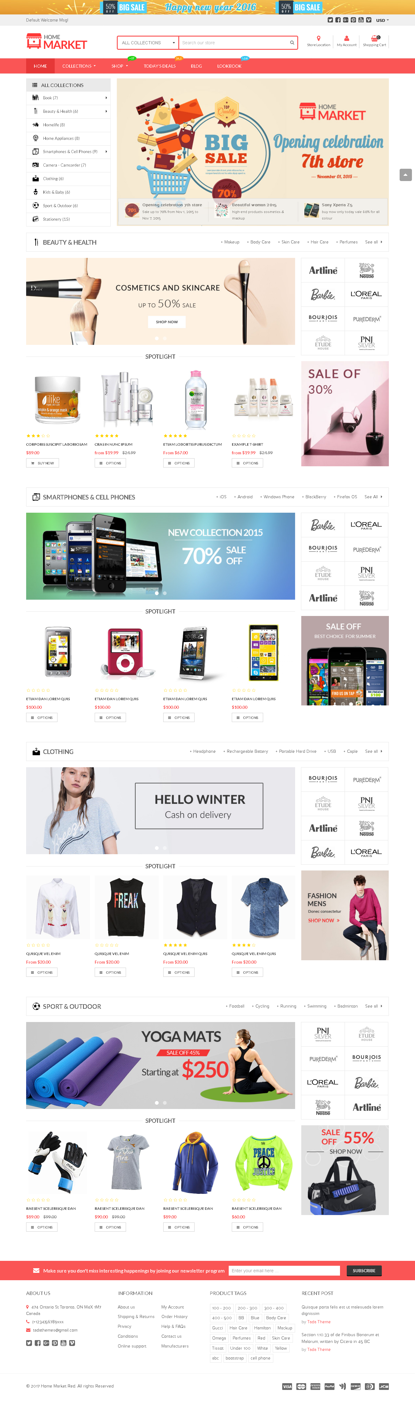 Best SHOPIFY Premium Themes Collection for SUPERMARKET Store 2017 - Home Market - Flexible Shopify Theme