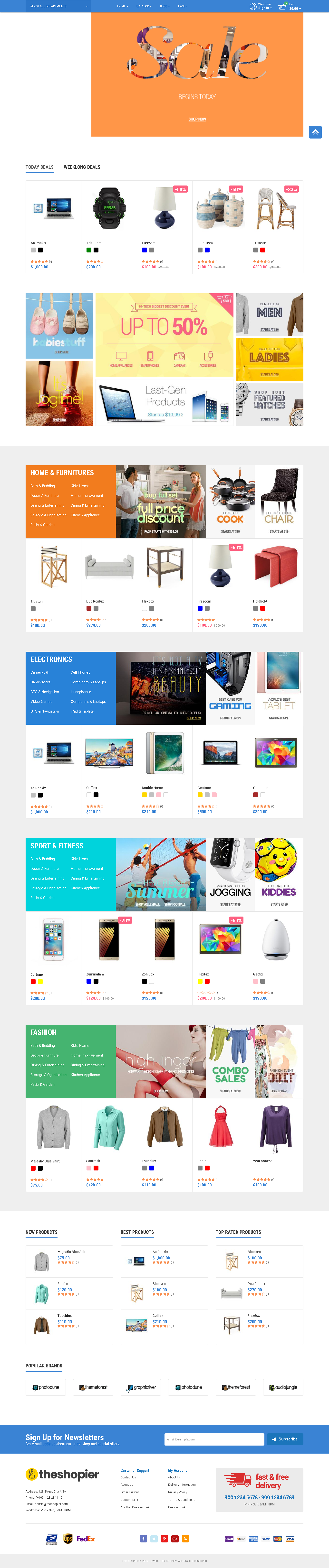 Best SHOPIFY Premium Themes Collection for SUPERMARKET Store 2017 - SHOPIER Creative Multi-Purpose Shopify Theme - Fashion,Supermarket,Electronics,Minimal