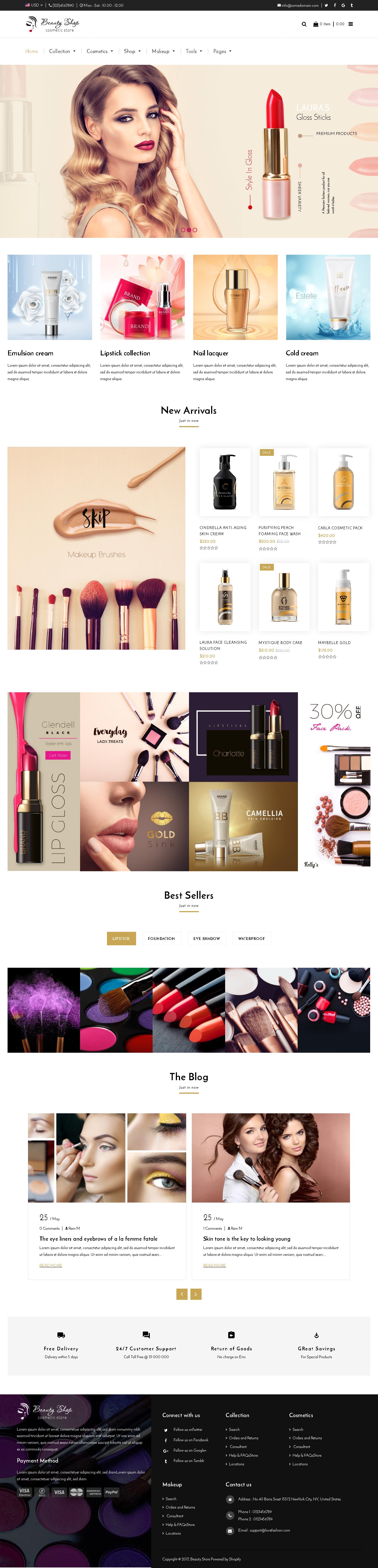 5 Best SHOPIFY Premium Themes Collection for Cosmetics Stores 2017 -Beauty – Cosmetics and Fashion Beauty Shopify Theme