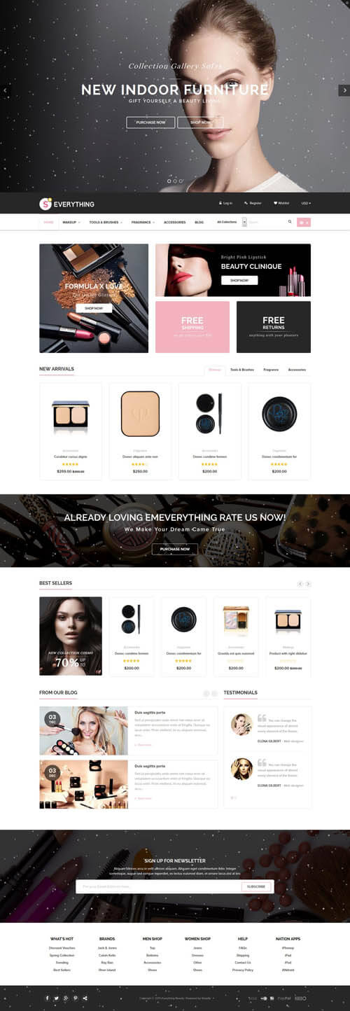 5 Best SHOPIFY Premium Themes Collection for Cosmetics Stores 2017 -Everything - Multipurpose Premium Responsive Shopify Themes - Fashion, Electronics, Cosmetics, Gifts