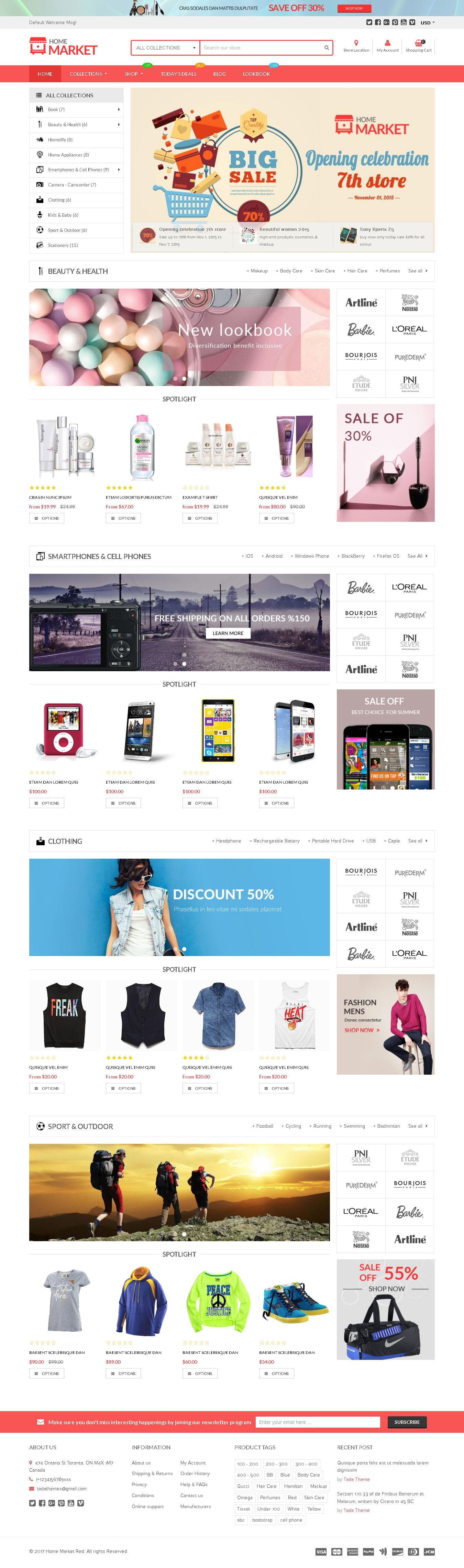 5 Best SHOPIFY Premium Themes Collection for large inventory Stores 2017 - Home Market-Flexible Shopify Theme