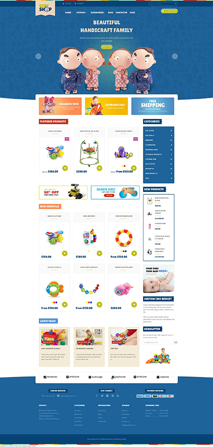Best SHOPIFY Premium Themes Collection for Toy Stores 2017 - Baby Shopify Theme