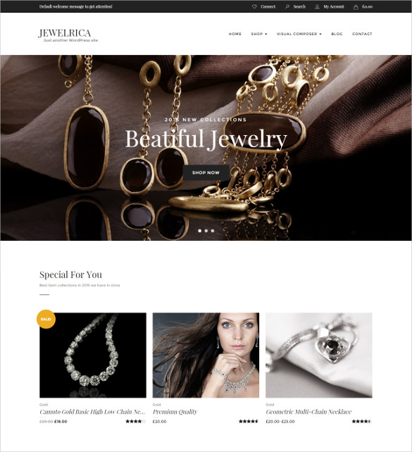 Best WordPress Premium Themes Collection for Jewelry Store - Jewelrica - eCommerce WordPress Theme