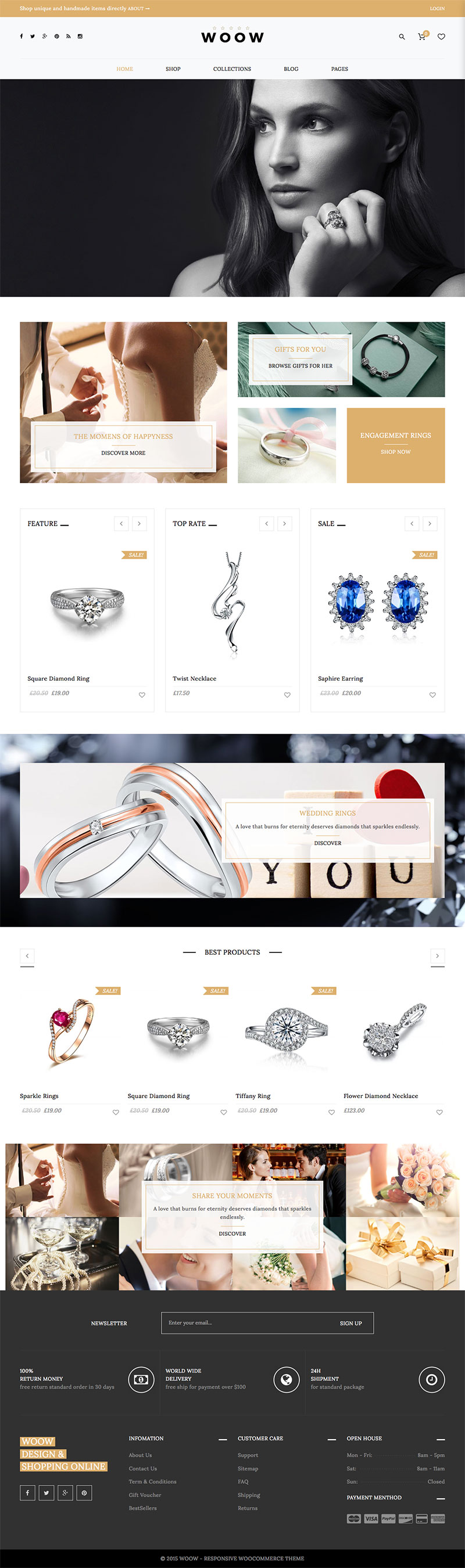 Best WordPress Premium Themes Collection for Jewelry Store - WOOW - Responsive WooCommerce Theme