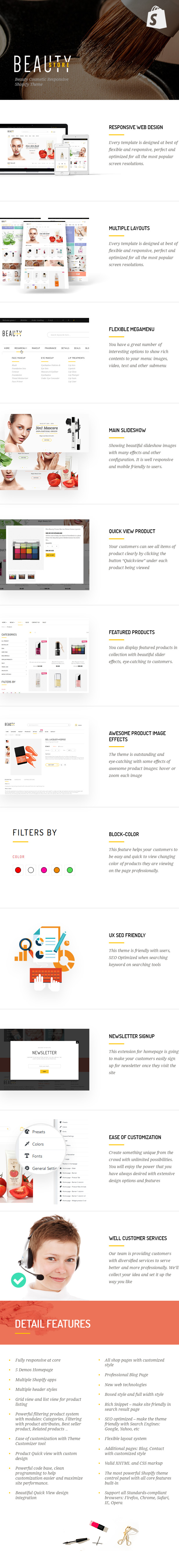 Beauty Shopify Theme FEATURES lists