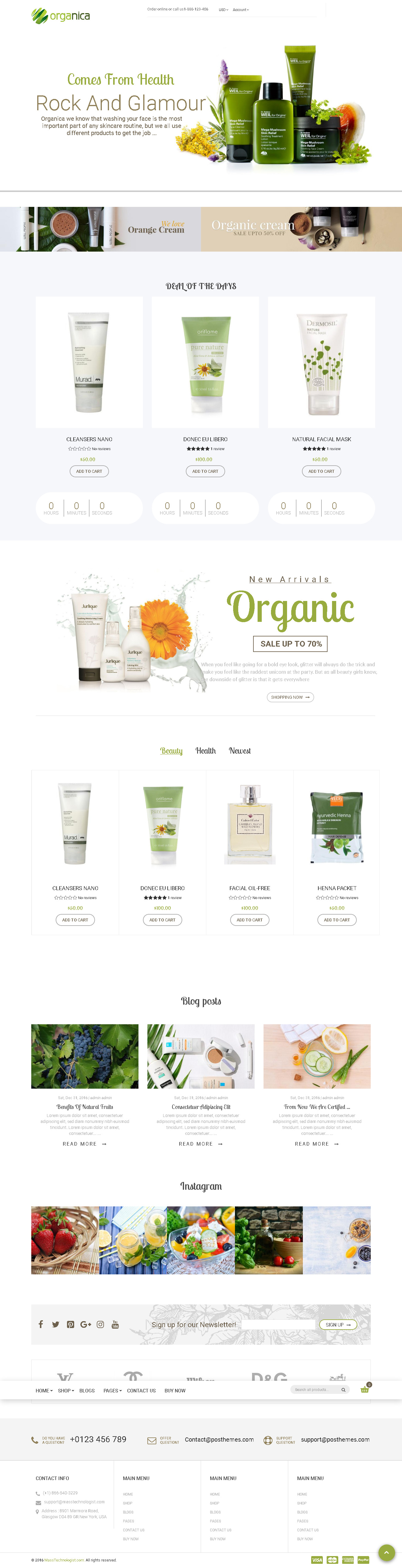 Best Shopify themes for Cosmetics store - Organica - Beauty, Natural Cosmetics, Food, Farn, Eco, Organic Shopify Theme - Sections Ready