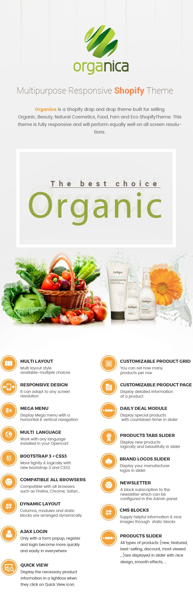 Organica - Beauty, Natural Cosmetics, Food, Farn, Eco, Organic Shopify Theme - Sections Ready FEATURES Lists