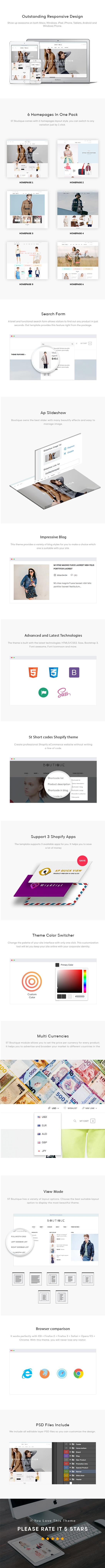 ST Boutique Shopify Theme FEATURES lists