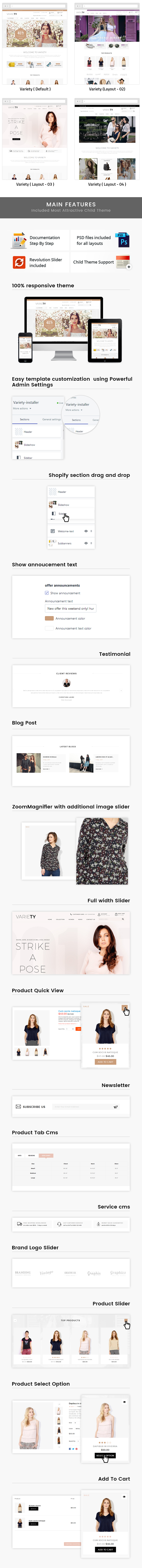 Variety - Sectioned Multipurpose Shopify Theme Features Lists