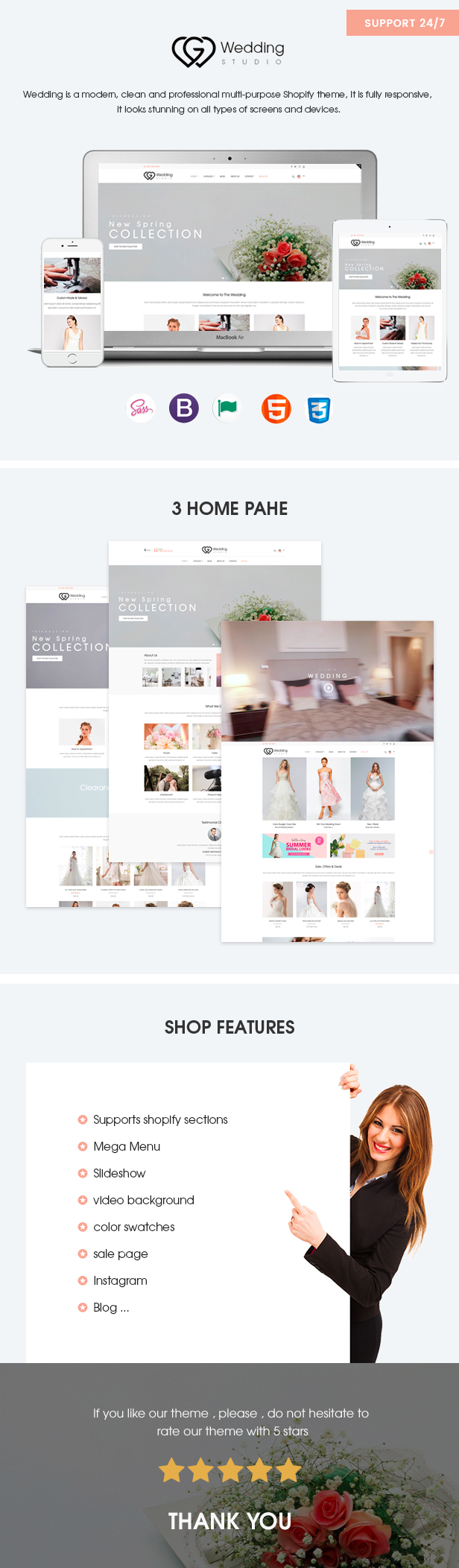 Wedding – Responsive Shopify theme FULL FEATURE List